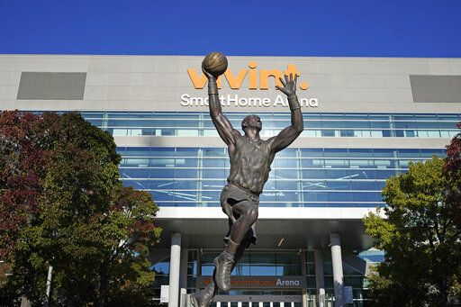 The Vivint Smart Home Arena is shown Wednesday, Oct. 28, 2020, in Salt Lake City. The majority interest of the Utah Jazz is being sold to technology entrepreneur Ryan Smith, a move that when formally approved by the NBA will end the Miller family's 35-year run as owners of the franchise. The Jazz said Wednesday that 'œdefinitive agreements'� have been struck with Smith on the sale of the team, Vivint Arena, the team's G League affiliate and management of a Triple-A baseball club. Part of those agreements call for the team to remain in Utah.