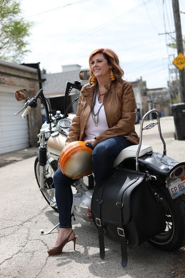 Shelley Paxton sitting on top of her Harley Davidson in Downtown Chicago Hallie Duesenberg