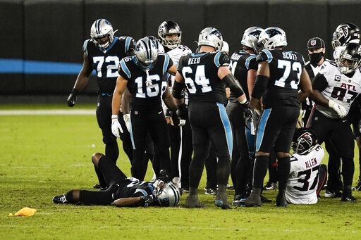 Carolina Panthers quarterback Teddy Bridgewater is injured on the field during the second of an NFL football game against the Atlanta Falcons Thursday, Oct. 29, 2020, in Charlotte, N.C.