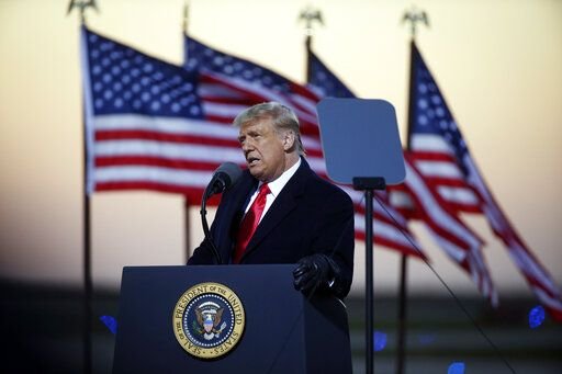 President Donald Trump speaks at a campaign rally Friday, Oct. 30, 2020, in Rochester, Minn.
