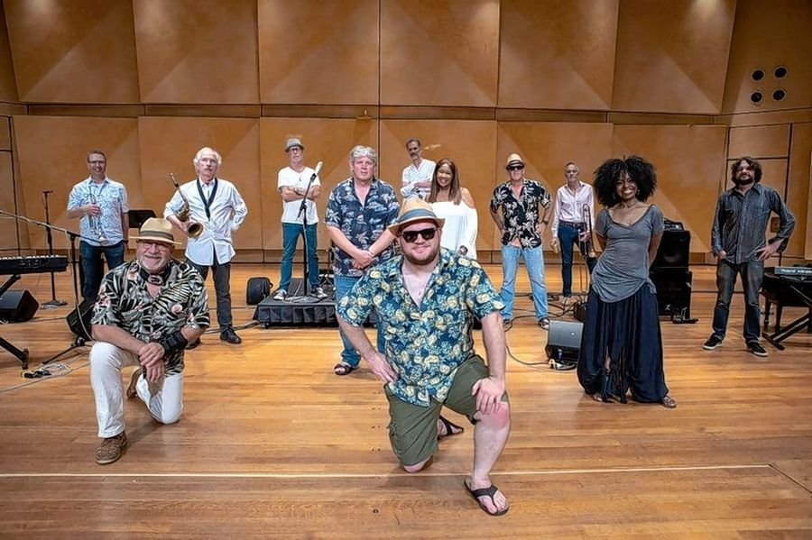 """Kevin Pollack's, center, performance with the NuTown Band at Ravinia this summer makes an appearance in the new """"Holiday"""" video."""