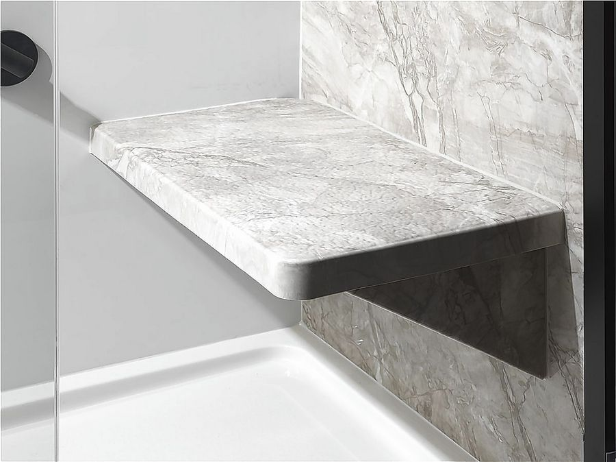 A shower seat is a necessity when updating a bathroom used by a senior.
