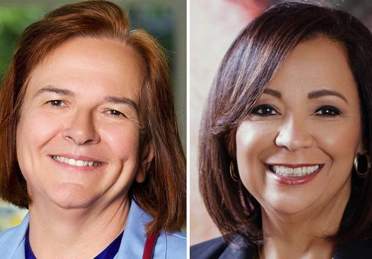 Barbara Ballar, left, and Iris Martinez are candidates for Cook County clerk of the circuit court