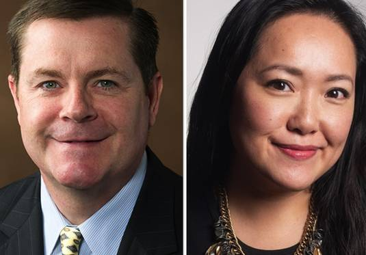 Grant Wehrli, left, and Janet Yang Rohr, right, are candidates for state legislature 41st district in the 2020 election.