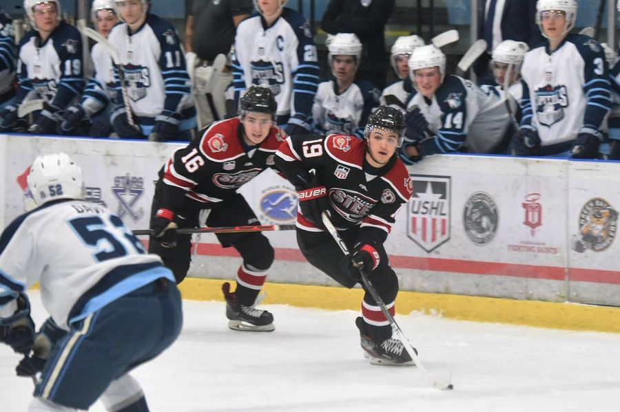 The Chicago Steel's Brendan Brisson (19) and Sam Colangelo (16) were among the team's players selected in the NHL draft. Brisson was taken 28th overall by Las Vegas and Colangelo was taken in the second round by Anaheim. Brisson will next play collegiately at Michigan and Colangelo at Northeastern.