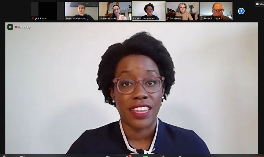 U.S. Rep. Lauren Underwood discusses the status of her 14th Congressional race against Jim Oberweis during a news conference Thursday held over Zoom.
