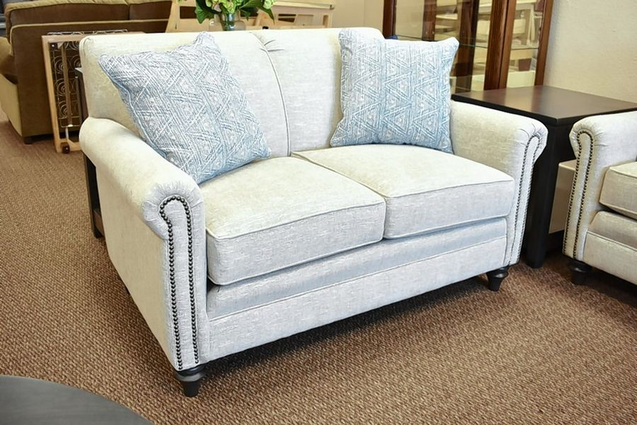 This is a 55-inch love seat from Smith Brothers of Berne is made in the U.S.A.