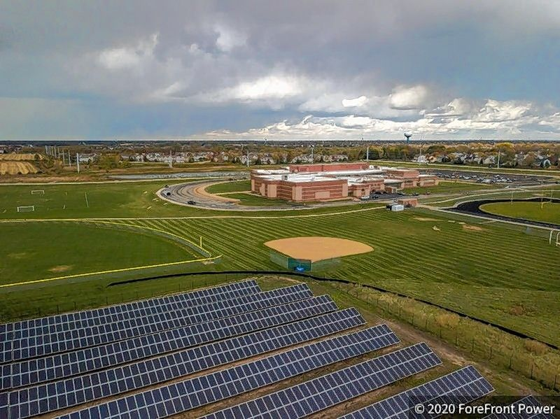 Huntley School District 158 installed solar panels at three of its campuses, in Huntley, Algonquin and Lake in the Hills, making up a system of 15,100 panels that will offset 12.3 million pounds of carbon emissions.