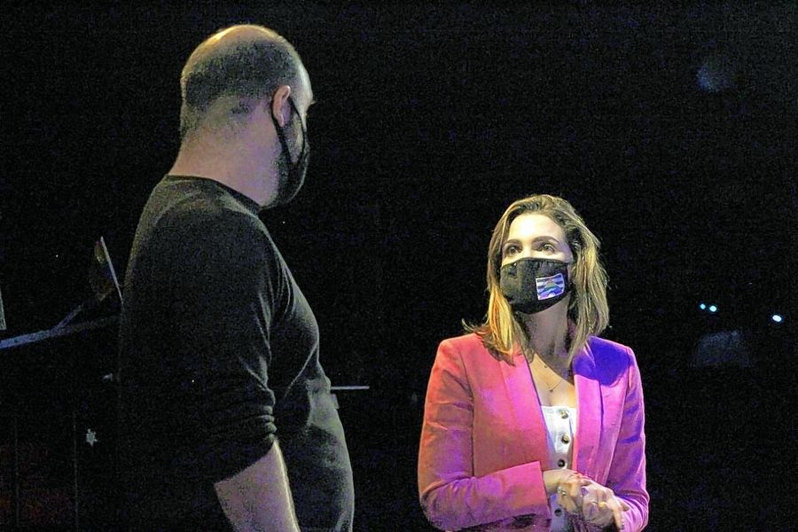 "Deerfield High School's production of ""Making Gay History: Before Stonewall"" is the first by any high school in the nation. Director Britnee Kenyon, right, and technical director Michael Clack, left, also have to deal with the restraints of the pandemic."