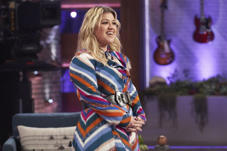 "This image released by NBC shows Kelly Clarkson on the set of her syndicated talk show ""The Kelly Clarkson Show."""