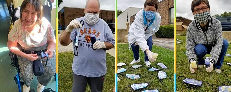 Talented individuals at Clearbrook have created tie-dyed mask for adults to raise funds to purchase N95 masks for staff who work directly with Clearbrook clients.