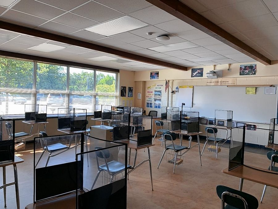 A classroom at Oak Grove School in Green Oaks was ready for students when in-school learning began in August. About 70% of students have been in classrooms since, but the school will switch to all remote on Dec. 1.