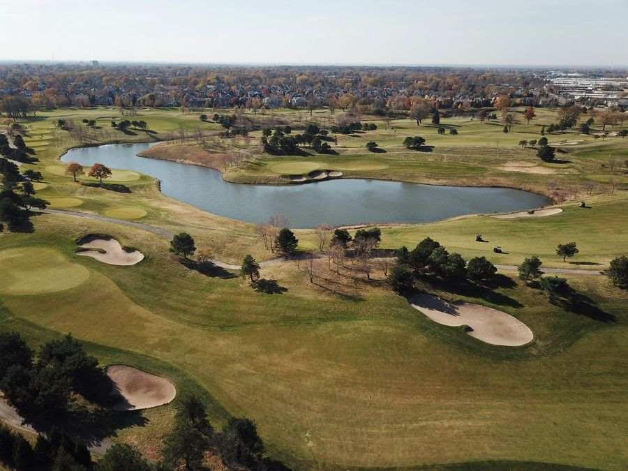 Aerial view of The Glen Club, at The Glen in Glenview.