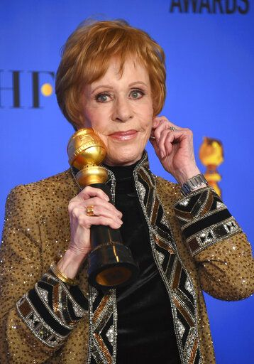 "REMOVES REFERENCE TO HULU - FILE - Carol Burnett poses in the press room with the inaugural Carol Burnett Award at the 76th annual Golden Globe Awards on Jan. 6, 2019, in Beverly Hills, Calif. Episodes of ""The Carol Burnett Show"" are available on streaming services like Tubi and The Roku Channel. (Photo by Jordan Strauss/Invision/AP, File)"