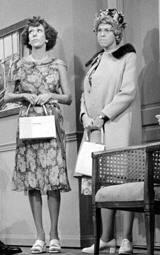 "REMOVES REFERENCE TO HULU- FILE - Carol Burnett, left, and Vicki Lawrence, appear at the taping of the final ""Carol Burnett Show"" on March 17, 1978, in Los Angeles. Episodes of ""The Carol Burnett Show"" are available on streaming services like Tubi and The Roku Channel."
