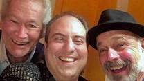 Arcada Theatre owner Ron Onesti, center, with Bill Champlin and Danny Seraphine, original members of the band Chicago.