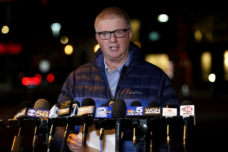 Wauwatosa Police chief Barry Weber speaks at a news conference, Friday, Nov. 20, 2020, in Wauwatosa, Wis. Multiple people were shot Friday afternoon at the Mayfair Mall in Wauwatosa, Wis., and police are still searching for the shooter.