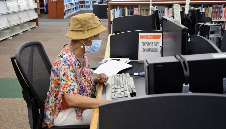 A Schaumburg Township District Library patron works on a library computer prior to the building's closure. Free computer classes are available online.
