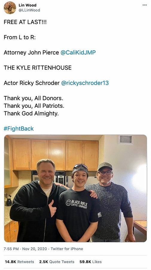 This tweet shows attorney John Pierce, left, and actor Ricky Schroder, right, with Antioch teenager Kyle Rittenhouse after he made bail on charges stemming from shootings during an Aug. 25 protest against police racism and brutality in Kenosha, Wisconsin.