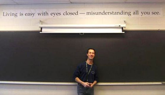 Bartlett High School English teacher Gary Lorber pictured in his classroom.