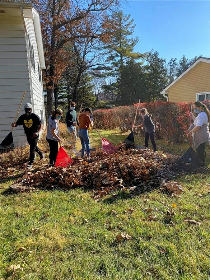 In November, the McHenry West Key Club  volunteered with fall yard work projects for seniors in the Senior Care Volunteer Network.