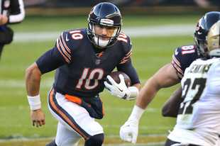 Bears quarterback Mitch Trubisky, here running against New Orleans Nov. 1, could be Sunday's starter at Green Bay.