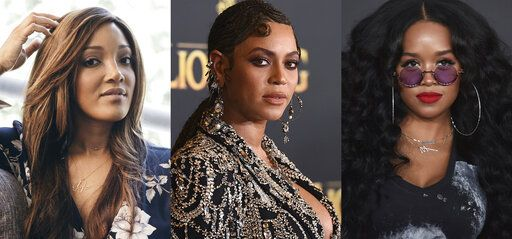 This combination photo shows from left, Mickey Guyton, Beyonce Knowles and H.E.R., whose songs about the Black experience all landed Grammy nominations Tuesday.