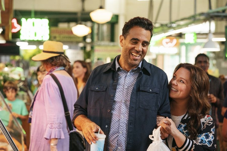 "Old love interests George (Bobby Cannavale) and Carol (Melissa McCarthy) reconnect in ""Superintelligence."""