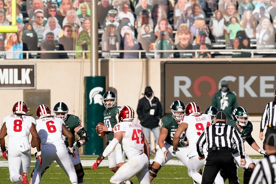 Michigan State quarterback Payton Thorne scans downfield for an open receiver against Indiana Nov. 14 in East Lansing, Mich.