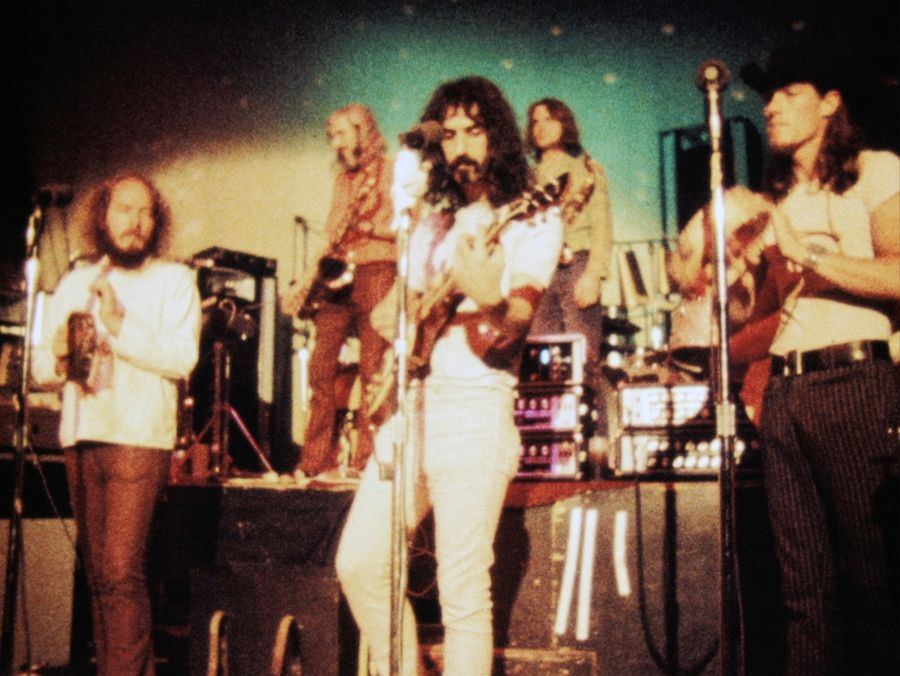 "Frank Zappa, center, performing with the Mothers of Invention in the documentary ""Zappa."""