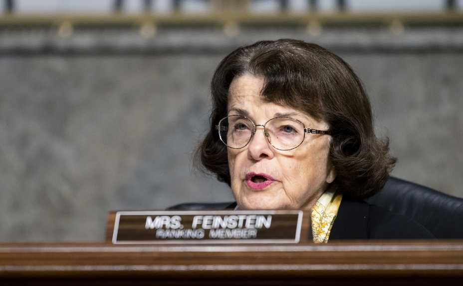 Sen. Dianne Feinstein asks questions during a Senate Judiciary Committee hearing on Facebook and Twitter's actions around the presidential election. Feinstein gave up her position last week as the top Democrat on the panel.