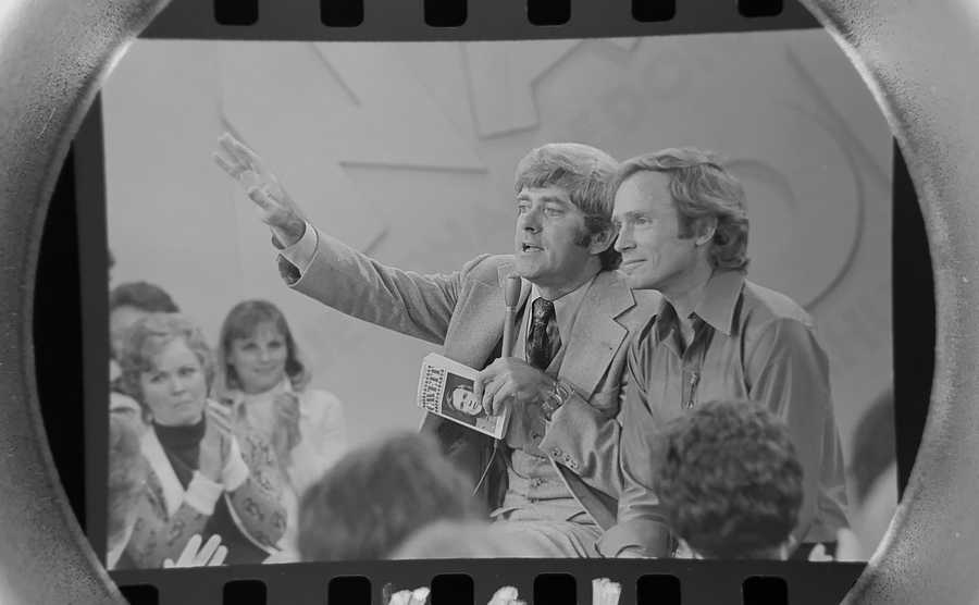 The Daily Herald Archive, Assignment # 37,540, Dom Najolia photo: Legendary talk show host Phil Donahue, left, interviews equally legendary talk show host Dick Cavett during his show in Chicago in September of 1975.