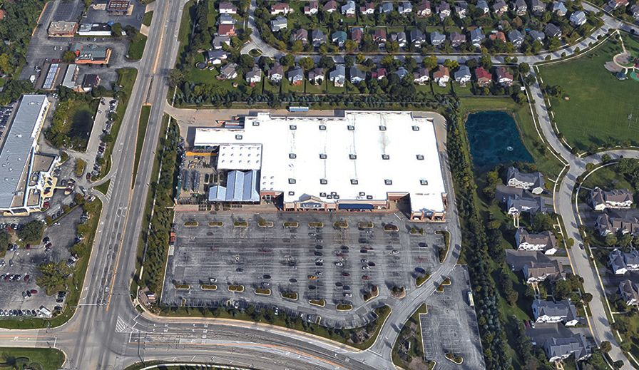 An aerial photo shows the 14.3-acre former Lowe's building and property at 7735 Grand Ave., in Gurnee. The College of Lake County purchased the property for $4.9 million and plans to create an Advanced Technology Center.