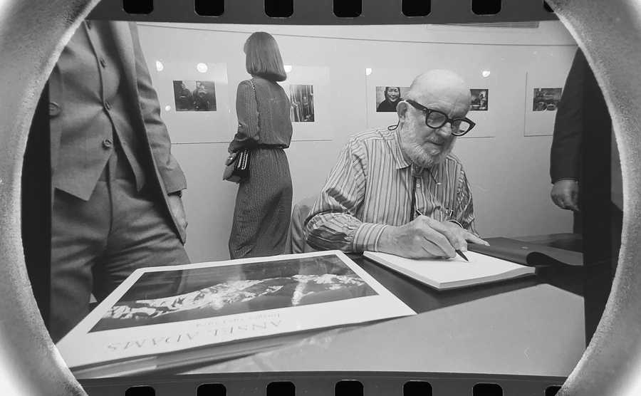 The Daily Herald Archive, Assignment # 52,253, Bob Ringham photo: Legendary photographer Ansel Adams, signed copies of his book in Chicago in October of 1979.