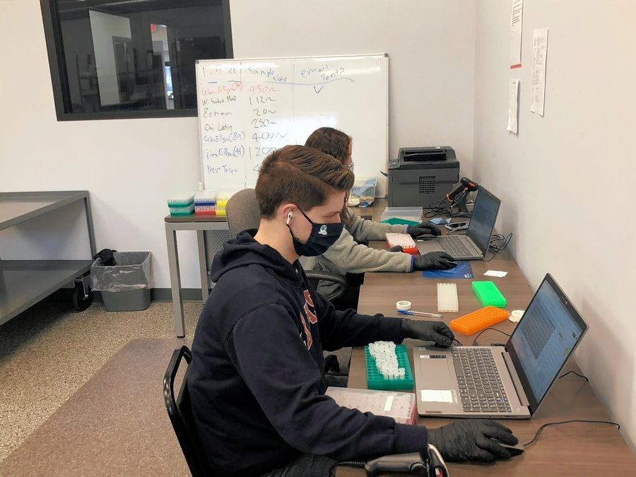 Safeguard Surveillance LLC employees scan testing samples into spreadsheets. Each sample is labeled with a bar code that identifies the participating school district and the individual while keeping names and other personal information confidential.