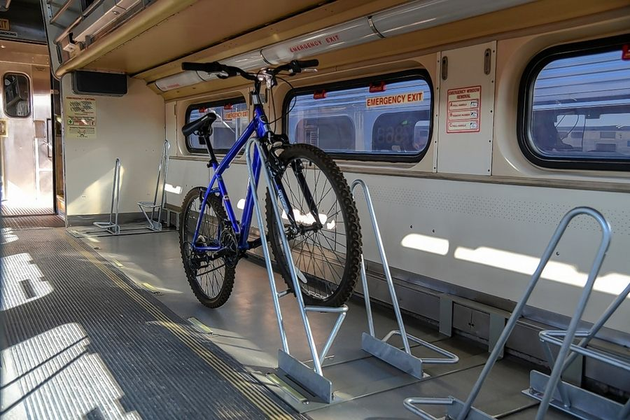 The interior of a Metra train car for bikes.