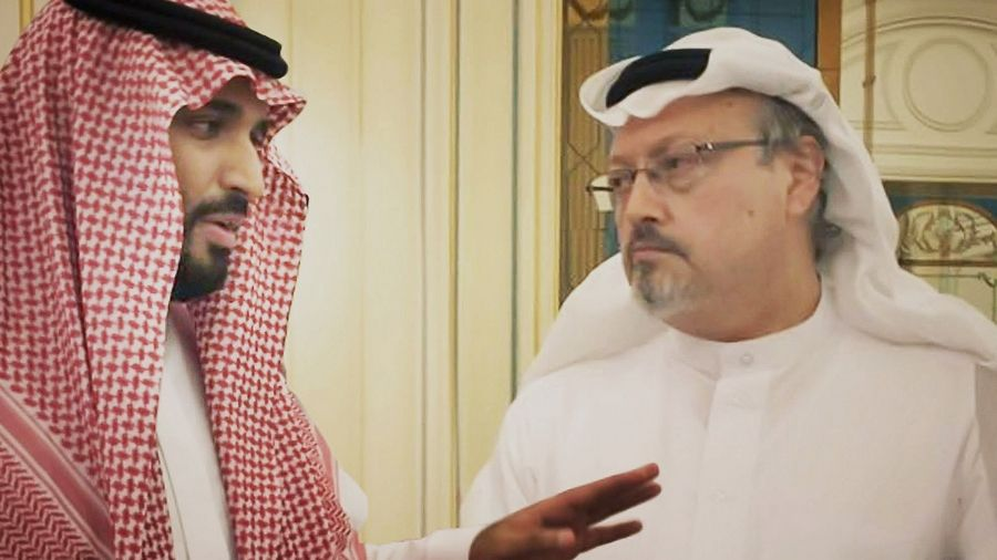 "Saudi Crown Prince Mohammed bin Salman, left, meets with journalist Jamal Khashoggi in a scene from the documentary ""The Dissident."""