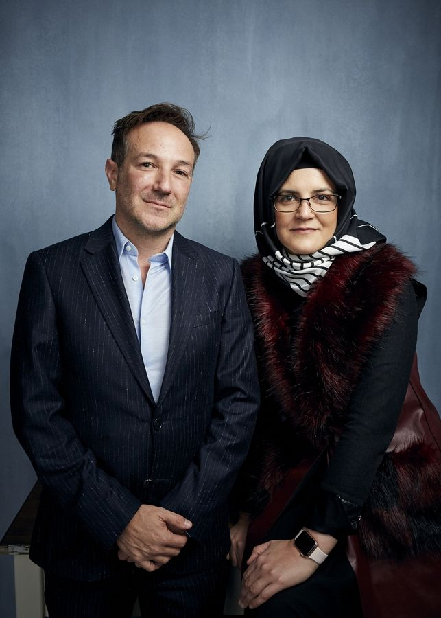 "Director Bryan Fogel and Hatice Cengiz promote ""The Dissident,"" a film about slain journalist Jamal Khashoggi, during the 2020 Sundance Film Festival in Park City, Utah."