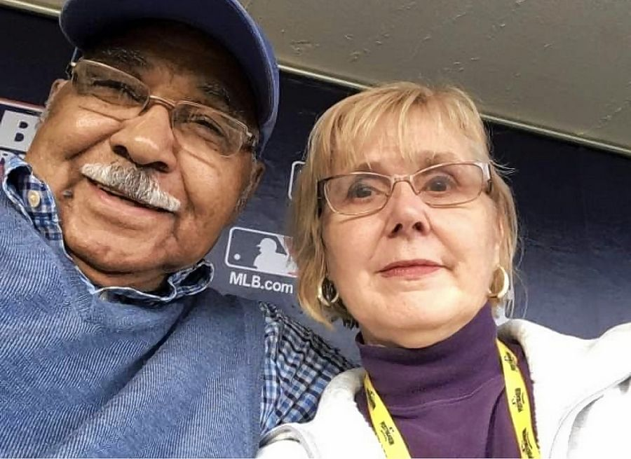 Cheryl Raye-Stout, with one of her heroes, Cubs great Billy Williams.
