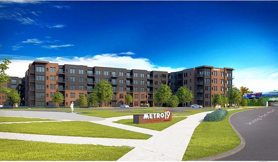 Photo rendering of the $80 million Metro 19 Apartment project approved by the Roselle village board Monday.