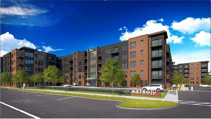 Photo rendering of the Metro 19 Apartment complex project by the Roselle village board Monday. Developers hope to start building the project this spring and complete it by 2022.