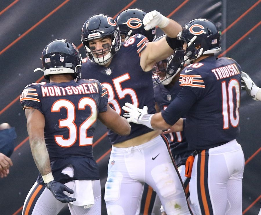 Bears tight end Cole Kmet (85) celebrates his first NFL touchdown during the win over the Lions. Kmet, a 21-year-old Lake Barrington native, finished his rookie season with the Bears with 28 receptions for 243 yards and 2 touchdowns.