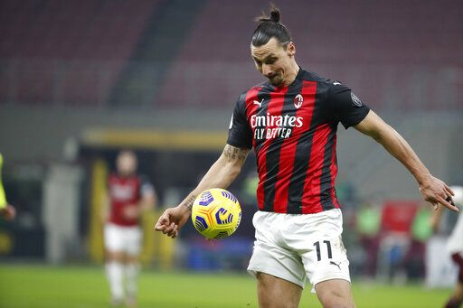 AC Milan's Zlatan Ibrahimovic in action during the Italian Cup round of 16 soccer match between AC Milan and Torino at the San Siro stadium, in Milan, Italy, Tuesday, Jan. 12, 2021.