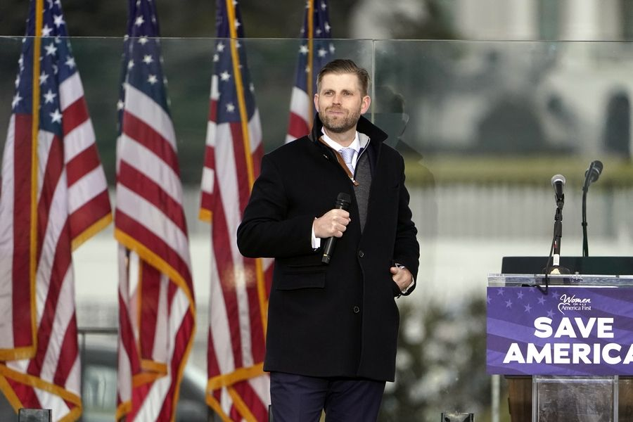 "Eric Trump speaks last week in Washington at a rally in support of President Donald Trump called the ""Save America Rally."""