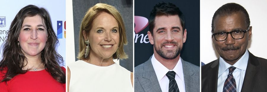 "Mayim Bialik, left, Katie Couric, Aaron Rodgers and Bill Whitaker are among the future guest hosts who will fill in for the late Alex Trebek on ""Jeopardy!"""