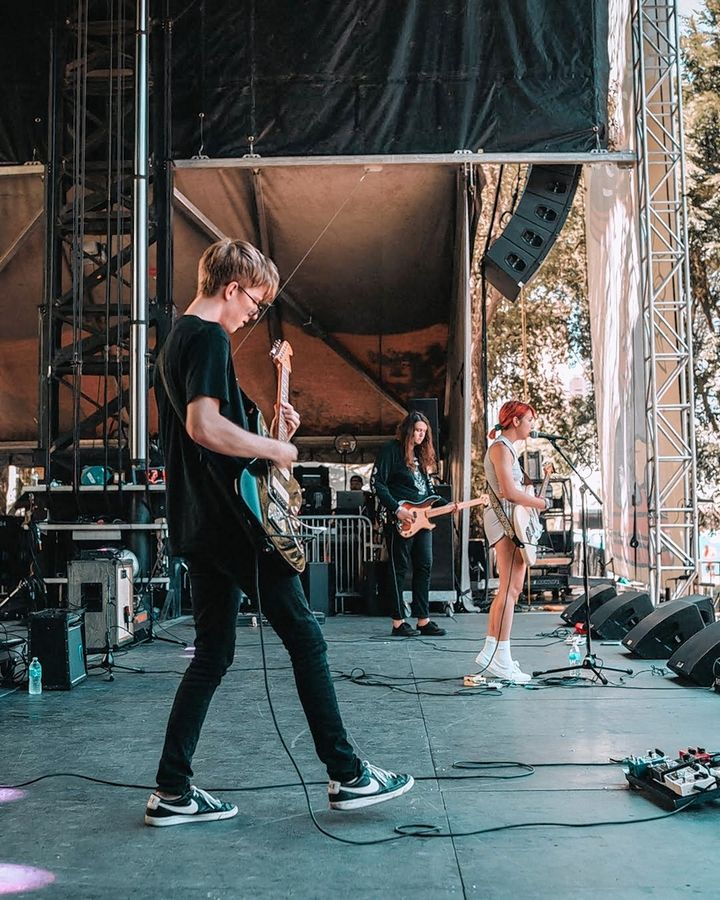 "Matt Henkels, left, Anthony Vaccaro and Lili Trifilio of Beach Bunny played Lollapalooza in 2019. The boppy alt-pop band makes an appearance on ""Jimmy Kimmel Live!"" Wednesday night."