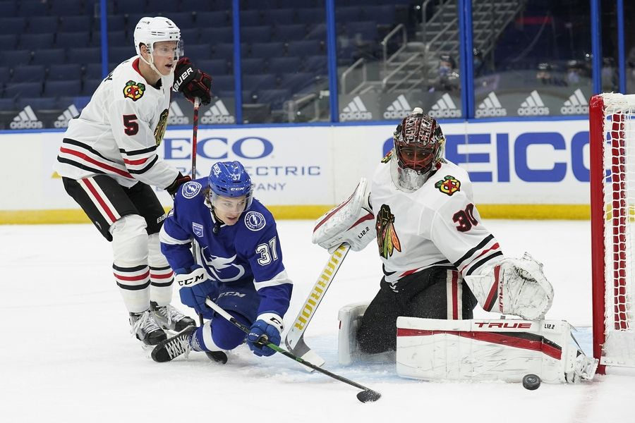 Blackhawks goalie Malcolm Subban was given the nod in the season opener at Tampa Bay, and while he made plenty of impressive saves, he nonetheless allowed 4 goals on the first 20 shots he saw during a 5-1 loss to the Lightning.