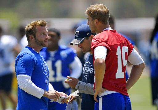 FILE - In this June 5, 2017, file photo, Los Angeles Rams coach Sean McVay, left, talks with quarterback Jared Goff, right, as offensive coordinator Matt LaFleur stands between them during NFL football practice in Thousand Oaks, Calif. Green Bay Packers coach LaFleur and Rams coach McVay say their friendship and shared history shouldn't have much of an impact on their teams' upcoming NFC divisional playoff matchup.