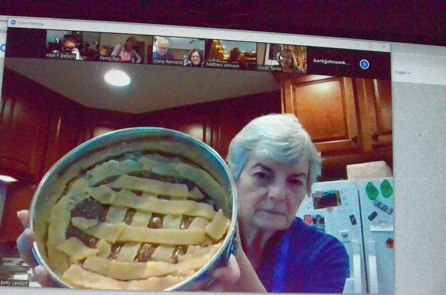 "Betty Landorf of Naperville shows a Norwegian fyrstekake, ""royal cake,"" she made Jan. 9 in a virtual Nordic baking class led by Barb Johnson for the Sons of Norway Polar Star Lodge 5-472."