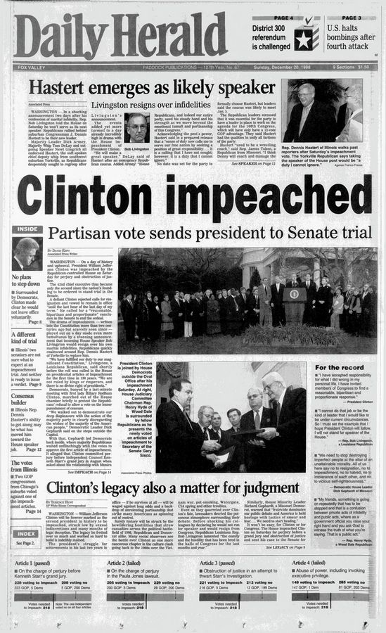 The Daily Herald front page on the Dec. 19, 1998, impeachment of President Bill Clinton. It shows that Clinton was impeached on only two of the four articles filed against him.